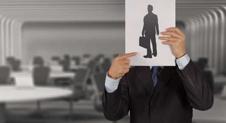 group leader: businessman hand with book choosing people icon as human resources concept  Stock Photo