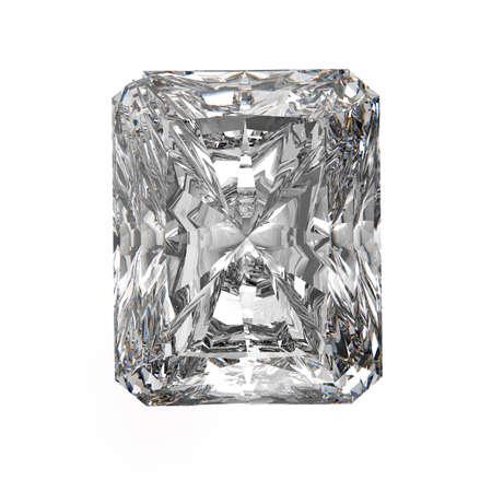 3d Square cut diamond on white