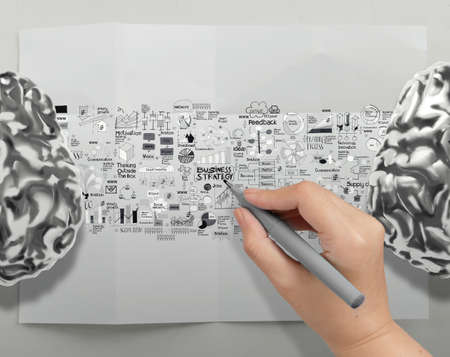 Strom: hand drawing metal brains 3d with business strategy icons as brain strom concept  Stock Photo