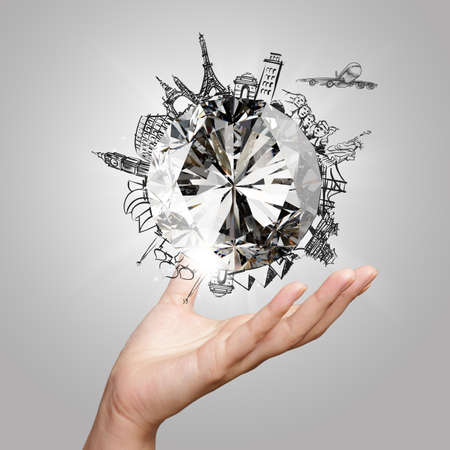 la mano que muestra 3d diamante con el sueño de viajar por el mundo como concepto