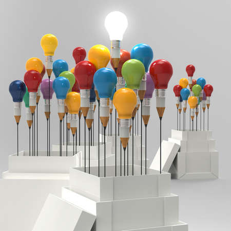 outside the box: pencil light bulb 3d as think outside of the box and leadership as concept  Stock Photo