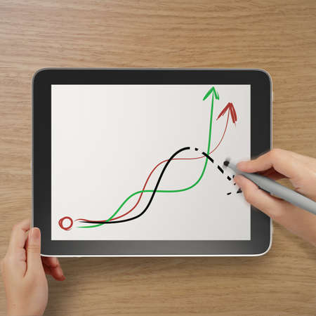 deleting: hand with stylus and eraser deleting falling graph business as concept