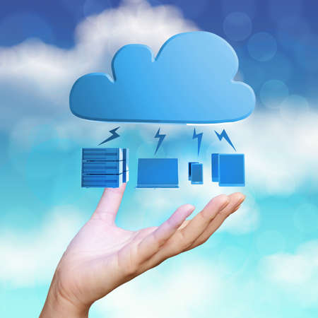 virtual servers:  hand showing 3d Cloud Computing diagram icon on blue sky as concept Stock Photo