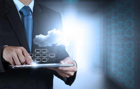 Mano de negocios que trabaja con un diagrama de Cloud Computing en la interfaz de la computadora como nuevo concepto