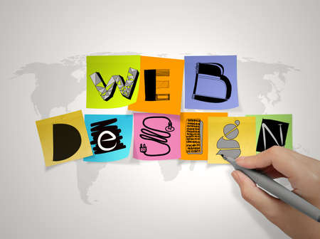 principle: hand  drawing web design on sticky note and world map background as concept  Stock Photo