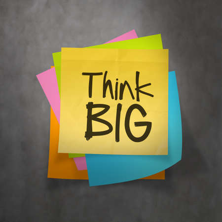 sticky hands: hand drawn Think BIG phrase on sticky note texture background as concept Stock Photo