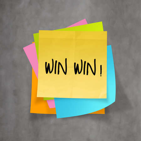 win win words on crumpled sticky note paper as concept photo