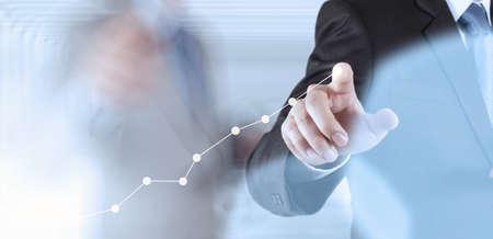 koncepció: üzletember kézzel dolgozik az új modern számítógépes és üzleti stratégia koncepciója Stock fotó