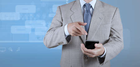 businessman with mobile phone on webinar screen background as concept photo