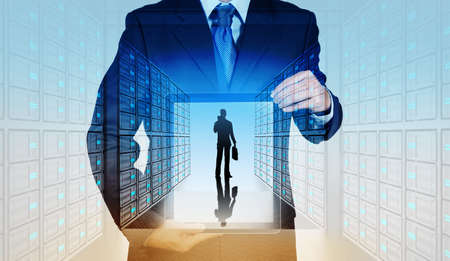 hightech: Double exposure of businessman hand showing leader on server background as concept Stock Photo