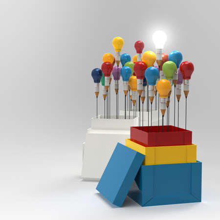 pencil light bulb 3d as think outside of the box and leadership as concept photo