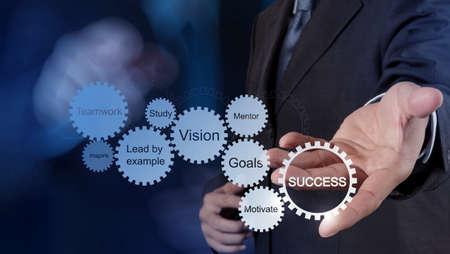 businessman hand shows gear business success chart concept