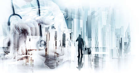 Double exposure of smart medical doctor working with abstract city as concept  Imagens