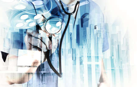 Double exposure of smart medical doctor working with abstract city as concept Stock Photo - 30730302