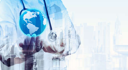 Double exposure of smart medical doctor holding the world with abstract city as concept  photo