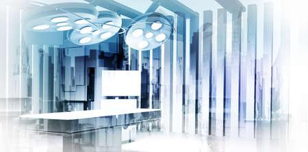 Dubbele belichting van het beeld abstract ziekenhuis stad als medische concept