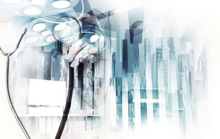 surgical coat: Double exposure of smart medical doctor working with abstract city as concept  Stock Photo