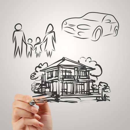 planificacion familiar: mano dibuja futura planificación de la familia como concepto