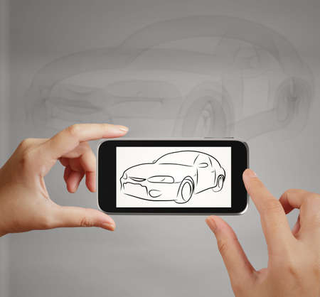 touch screen phone: Smart hand using touch screen phone take photo of Car icon as concept