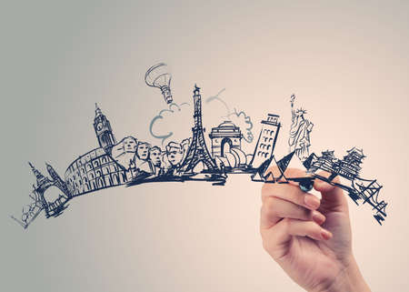 hand drawn traveling around the world on wooden background as vintage concept  photo