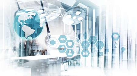 Double exposure of smart medical doctor working with abstract operating room as concept  Stockfoto