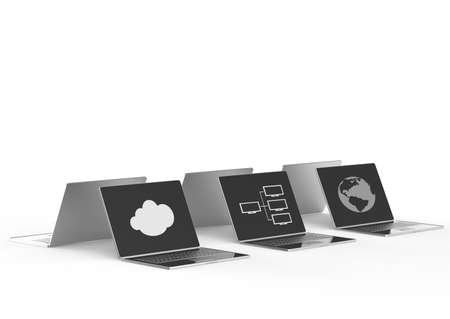 remote access: Cloud computing 3d sign on laptop computer as concept  Stock Photo