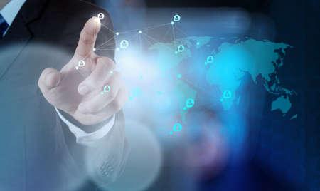 trabajo social: de negocios que trabaja con la nueva estructura moderna espectáculo ordenador red social