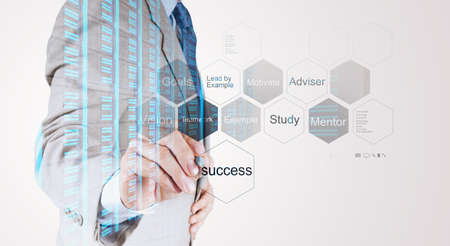 implement: Double exposure of businessman hand drawing  business success chart concept Stock Photo