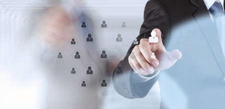 Hand auswählen Menschen als Symbol der Humanressourcen-Konzept