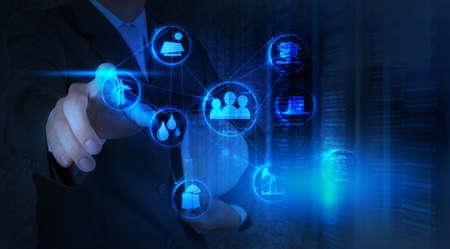 gas lamp: Double exposure of engineer works industry diagram on virtual computer