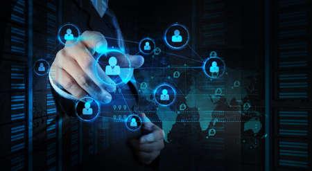 circulo de personas: de negocios que trabaja con la nueva estructura moderna espect�culo ordenador red social