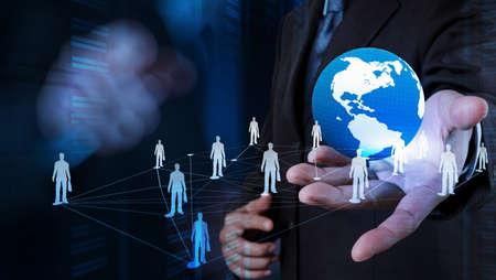 apoyo social: de negocios que trabaja con la nueva estructura moderna espectáculo ordenador red social