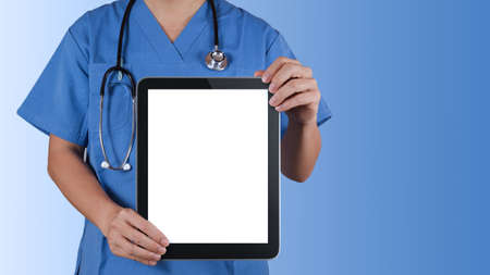 doctor computer: Doctor working with tablet computer background Stock Photo