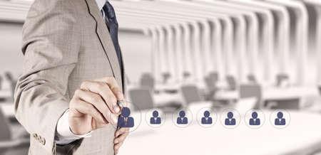 zakenman kant kiezen van mensen icoon als concept human resources Stockfoto