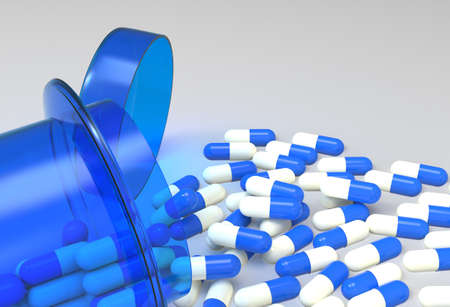 reliever: Pills 3d spilling out of pill bottle on white