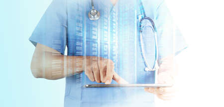 Double exposure of Doctor working with tablet computer background