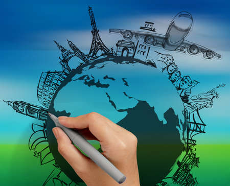 europe: hand drawn traveling around the world by air plane on nature background Stock Photo