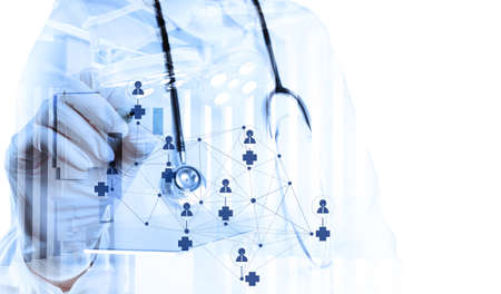 Double exposure of smart medical doctor drawing network with operating room as concept photo
