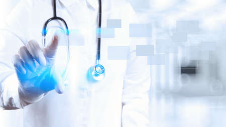doctor with stethoscope: Medicine doctor working with modern computer interface as concept Stock Photo