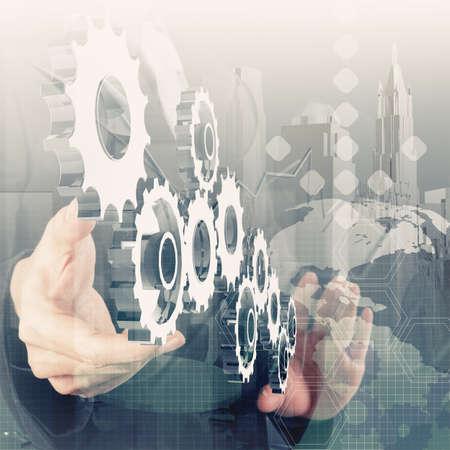 desarrollo económico: Doble exposición de la mano de negocios que trabaja con la nueva estrategia de la computadora y los negocios modernos como concepto