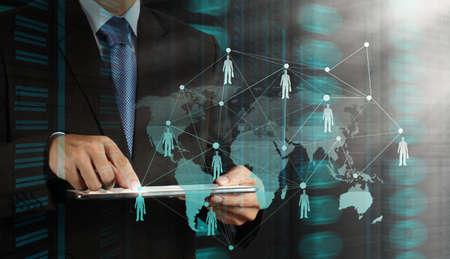 apoyo social: de negocios que trabaja con la nueva estructura moderna espectáculo ordenador de la red social como concepto