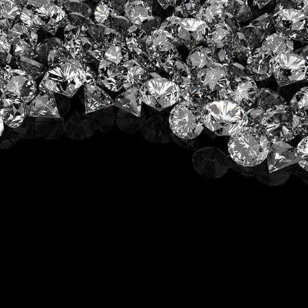 Diamantes 3d composición sobre fondo negro Foto de archivo - 33248503