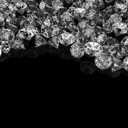 Diamonds 3d composition on black background Фото со стока