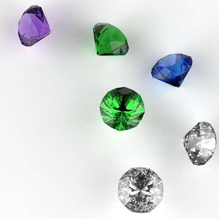 x mas: Diamonds 3d composition on white as merrys x mas concept
