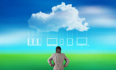 businessman thinking about cloud network idea concept on nature background photo