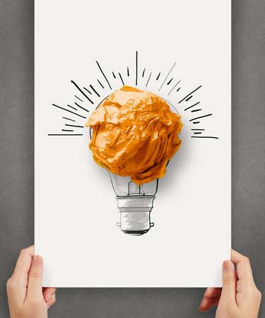 tiré par la main ampoule avec boule de papier froissé sur l'affiche de papier comme concept créatif