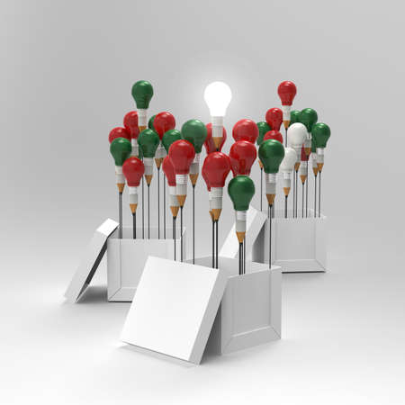 pencil light bulb 3d as think outside of the box and merrys christmas as concept photo