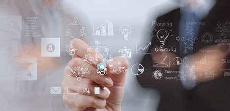 hombres ejecutivos: mano de negocios que trabaja con la computadora nueva, moderna y estrategia de negocio como concepto
