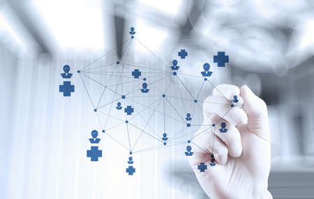 smart medical doctor hand drawing network with operating room as concept Standard-Bild