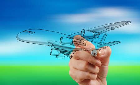 手ぼかし青い空を背景に描画飛行機